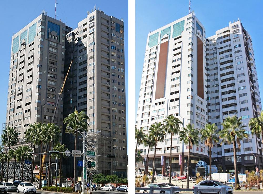 外牆拉皮案件 : 台南國家新境外牆拉皮補助案_建築施工前後比對圖