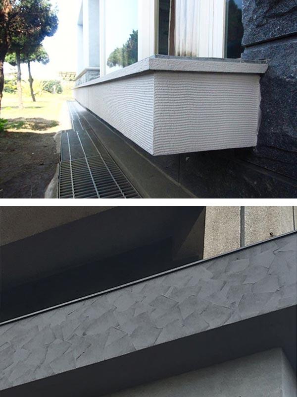 竹北獨棟個人住宅外牆拉皮以GR仿石造型工法,製造出立體波紋