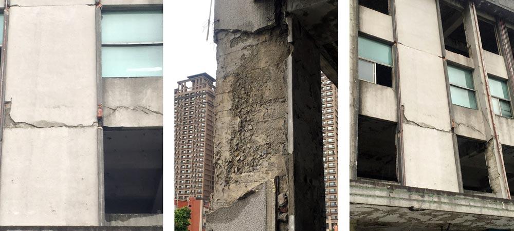 外牆劣化狀況,因混凝土中性化導致的嚴重裂縫及剝落