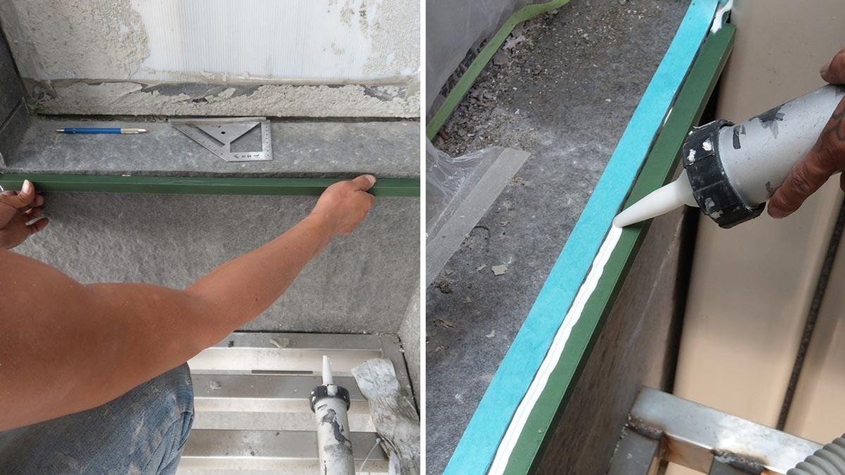 朋柏公司使用的滴水條免釘牆面,避免牆面因擊釘造成滲水等問題。